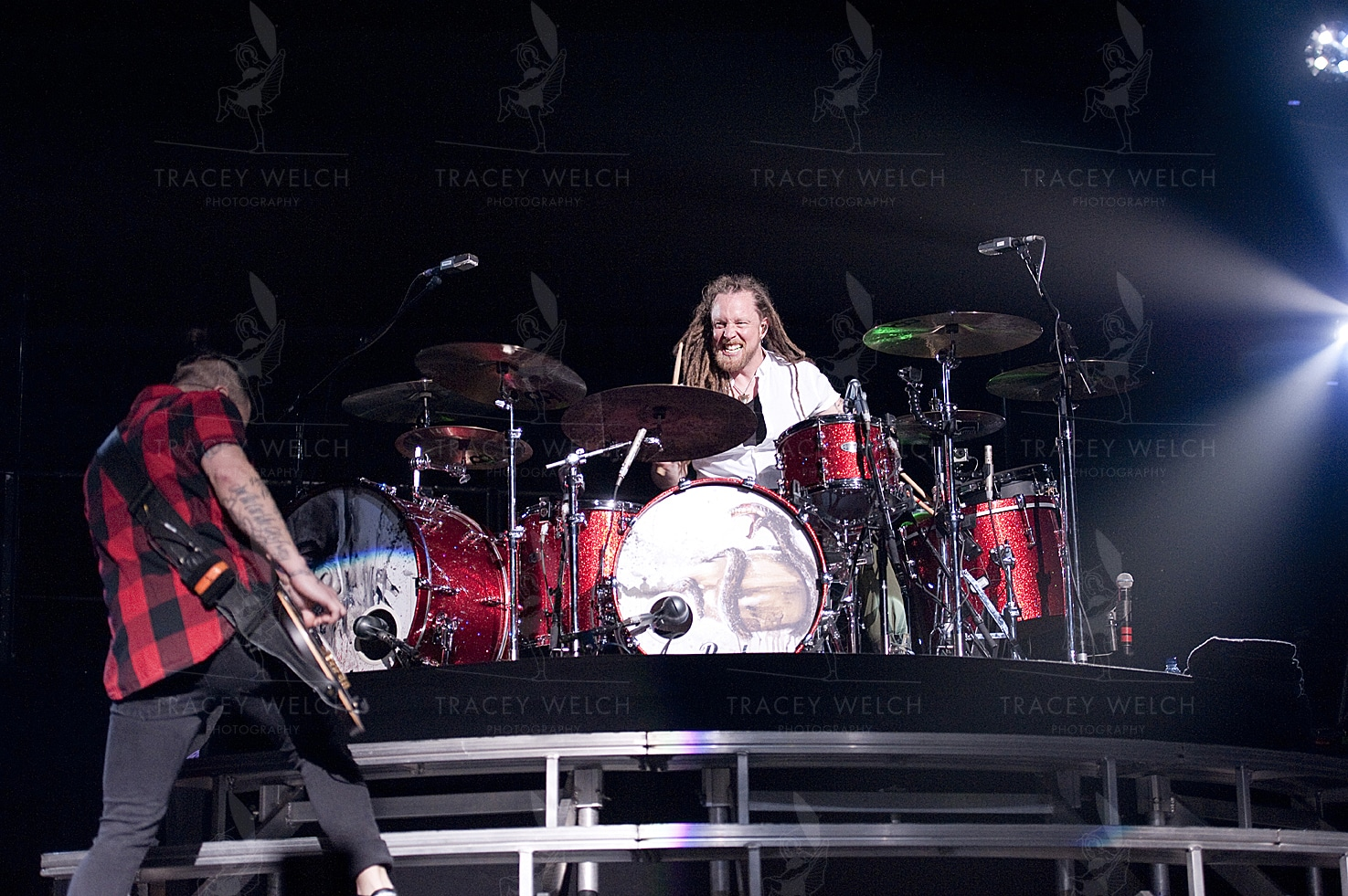 Eric Bass and Barry Kerch, Bassist and Drummer of Shinedown, Live at Leeds